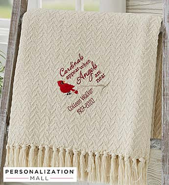 Cardinal Memorial Embroidered Afghan