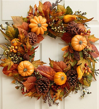 Festive Faux Pumpkin and Gourd Wreath - 24