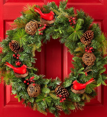 Christmas Faux Pinecone & Cardinal Wreath - 30