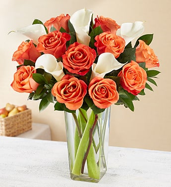 Autumn Rose & Calla Lily Bouquet with Clear Vase