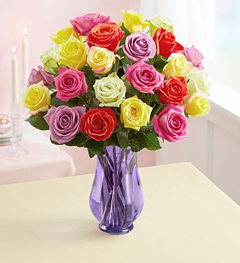 Two Dozen Assorted Roses + Free Shipping