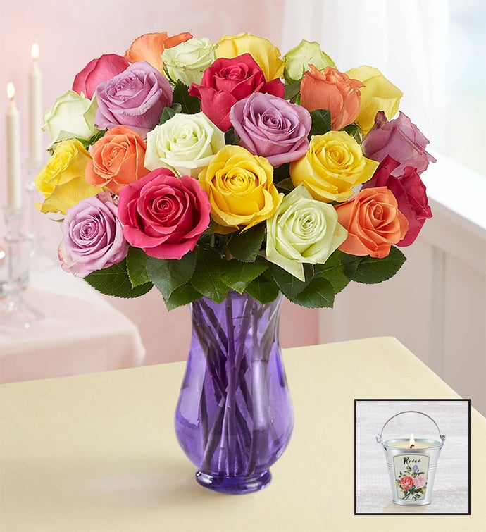 Two Dozen Assorted Roses with Purple Vase & Candle