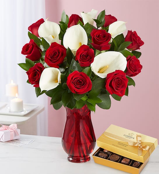 Stunning Red Rose & Calla Lily Bouquet with Red Vase & Chocolate