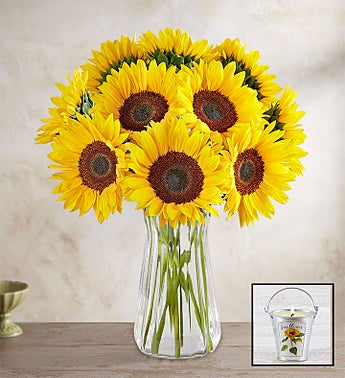 Sunflower Bouquet + Free Candle