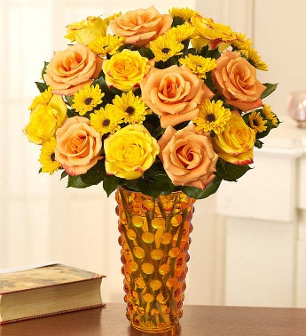 Fair Trade Orange & Yellow Roses with Poms