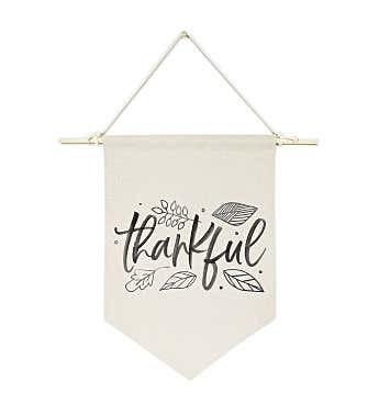 Grateful, Thankful, Blessed Canvas Wall Hang
