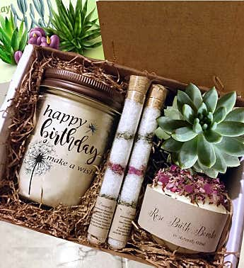 Happy Birthday Succulent & Spa Gift Box