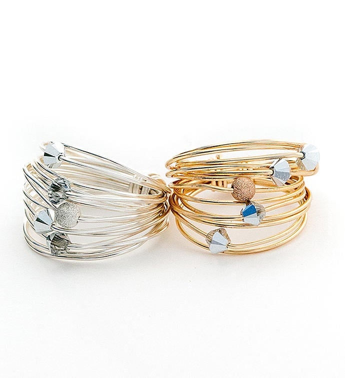Marcia Multi Metal Wrap Ring with Crystals
