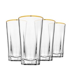Hudson Highball Glasses Gold Banded - Set of 4