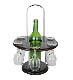 Round Wine Bottle & Glass Holder