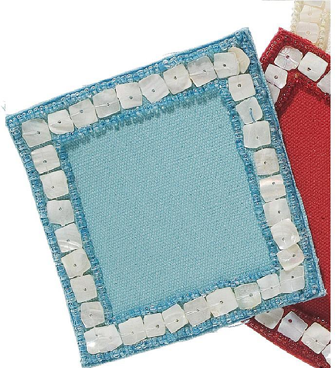Mother of Pearl Coasters in Turquoise - Set of Four