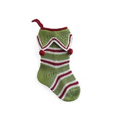Mini Candy Cane Stocking - Green